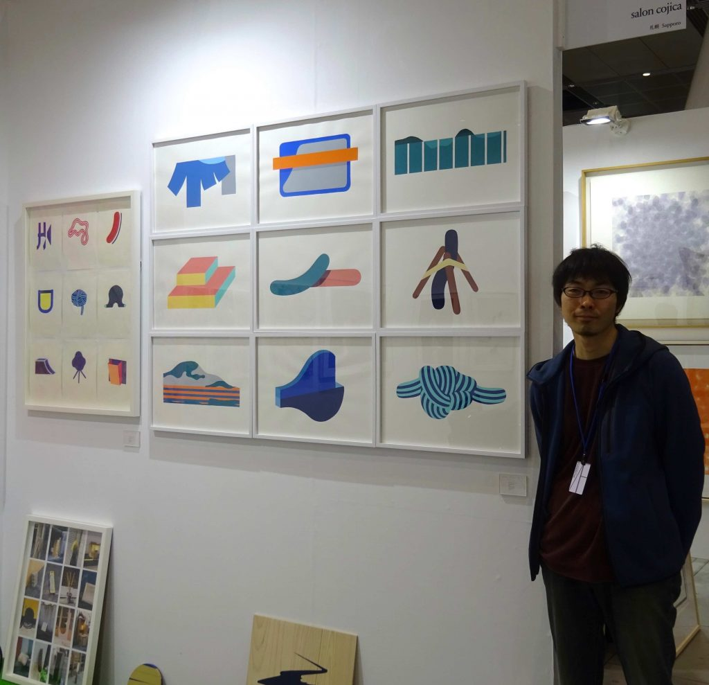 Artist SUZUKI Yuya 鈴木悠哉, salon cojica booth wall with his works