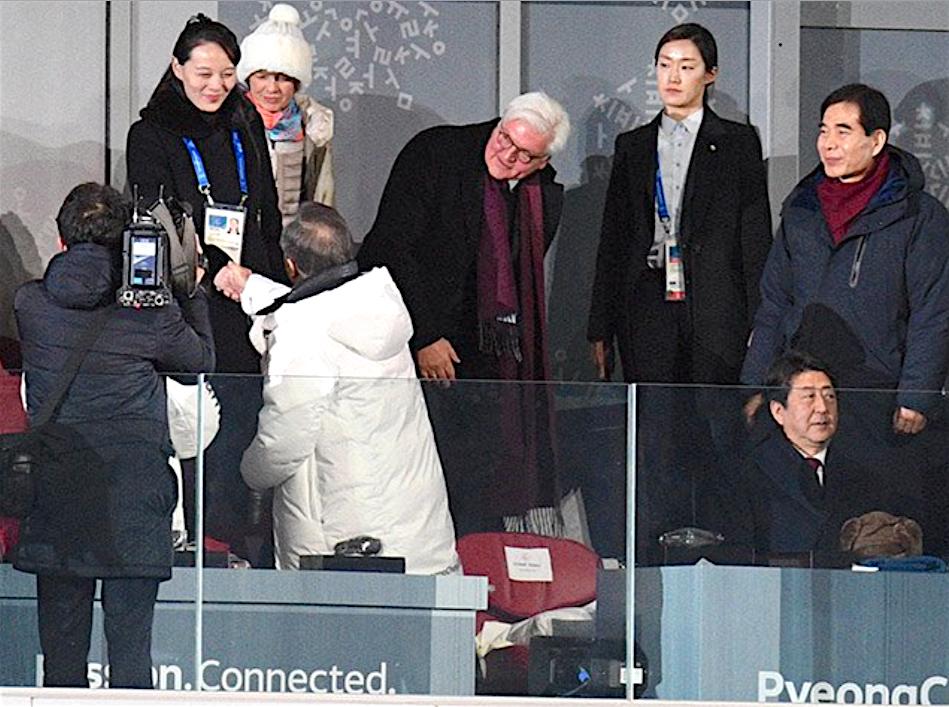 Hope towards Korean Reunification. しかし、2018年2月9日:平昌オリンピック・オープニング・セレモニーでの国際外交でチャンスを逃すKY安倍総理。上右:フランク=ヴァルター・シュタインマイアー ドイツ連邦大統領。