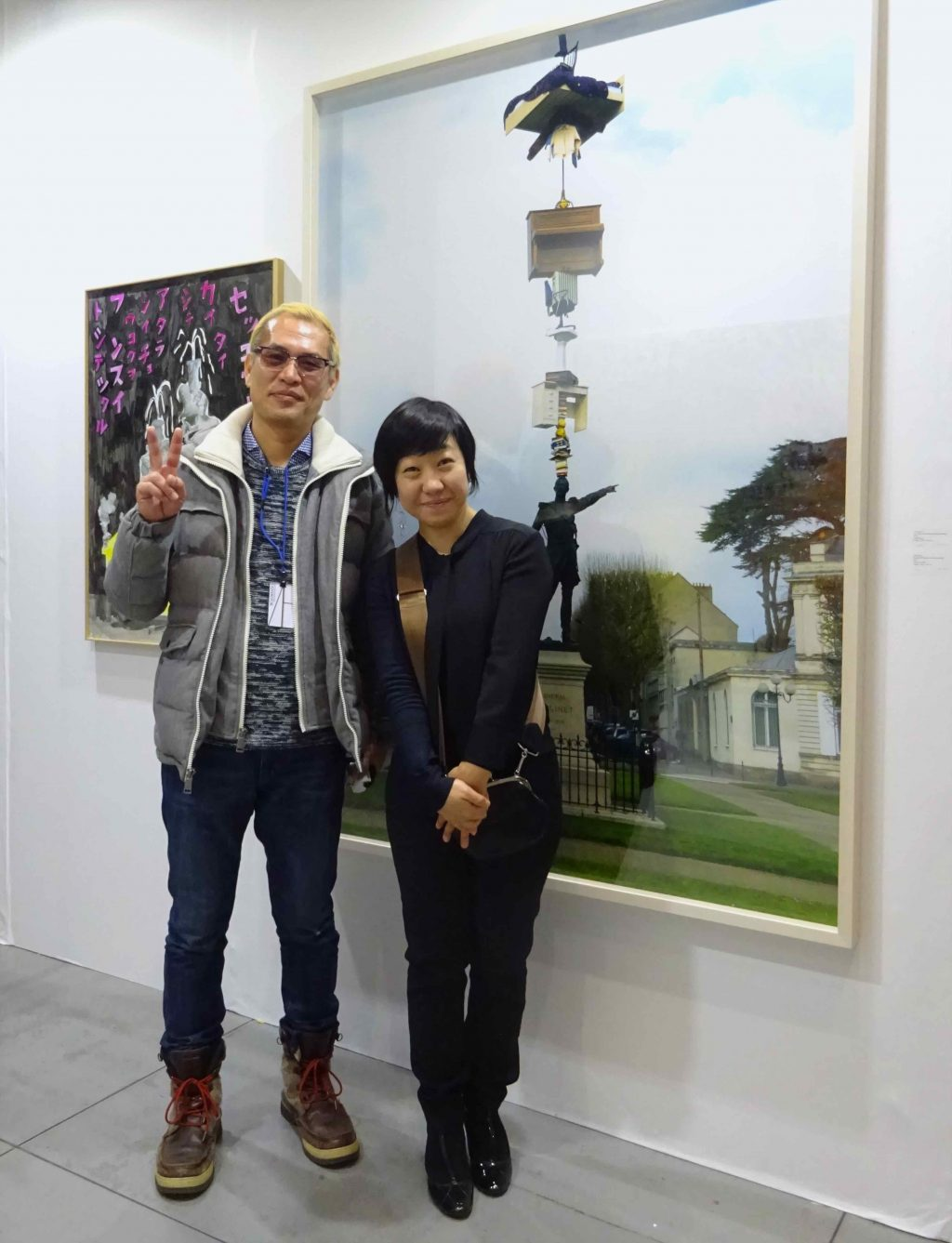 URANO Gallery owner URANO Mutsumi 浦野むつみ celebrating together with her artist NISHI Tatsu 西野達, as he just received the Minister of Education and Culture Award for Fine Arts 芸術選奨文部科学大臣賞受賞