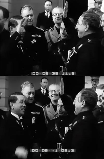 外務大臣 松岡洋右とムッソリーニの代理、ロベルト・ファリナッチ (Roberto Farinacci) ファシストの挨拶、東京、1938年