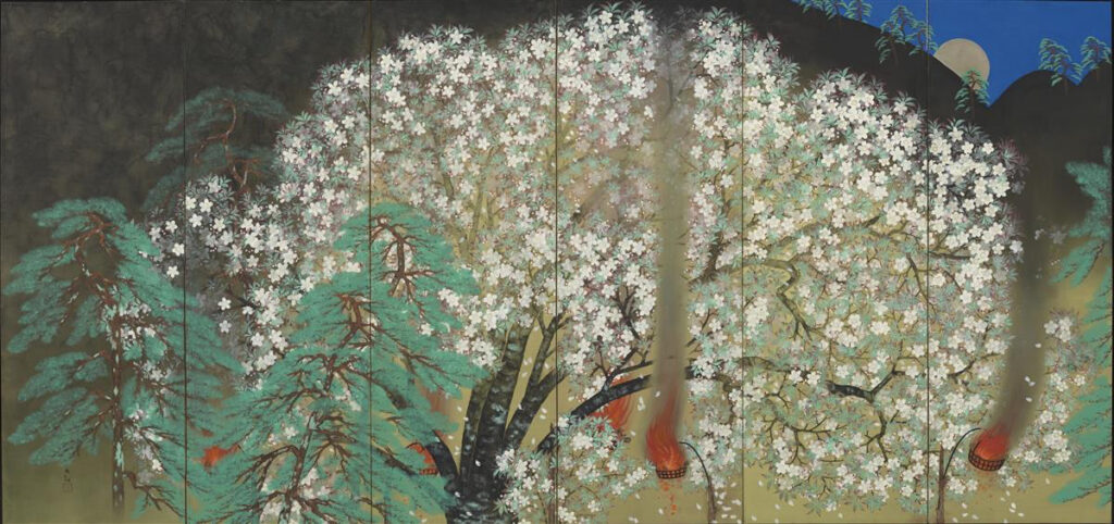 YOKOYAMA Taikan's work Cherry Blossom at Night 1929 (left part), in Rome 1930 横山大観「夜桜」(左隻) 昭和4(1929)