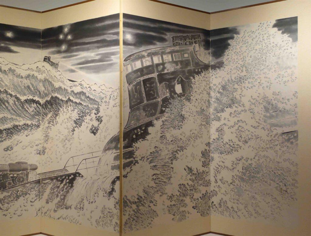 "IBARAKI Sampu 茨木杉風 ""Submarines Setting Out on a Sortie"" 潜水艦の出撃 1942, sumi on paper @ 東京国立近代美術館 MOMAT, detail"