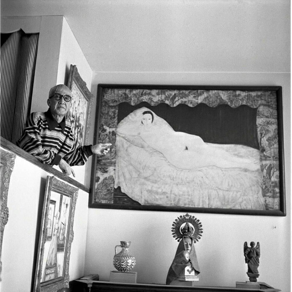 藤田嗣治-Léonard Foujita- Nu à la toile de jouy 1922 Paris apartment ca.1960