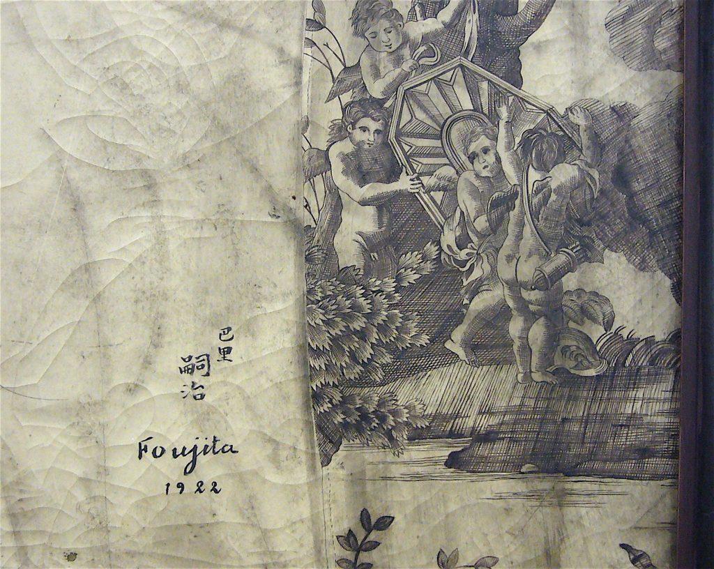 藤田嗣治-Léonard Foujita- Nu à la toile de jouy 1922, detail