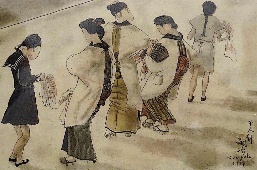 藤田嗣治 Léonard Foujita・レオナール・フジタ「千人針」(Senninbari, Soldier's good-luck belt with a thousand stitches embroidered by a thousand different women) 1937, oil on canvas, detail