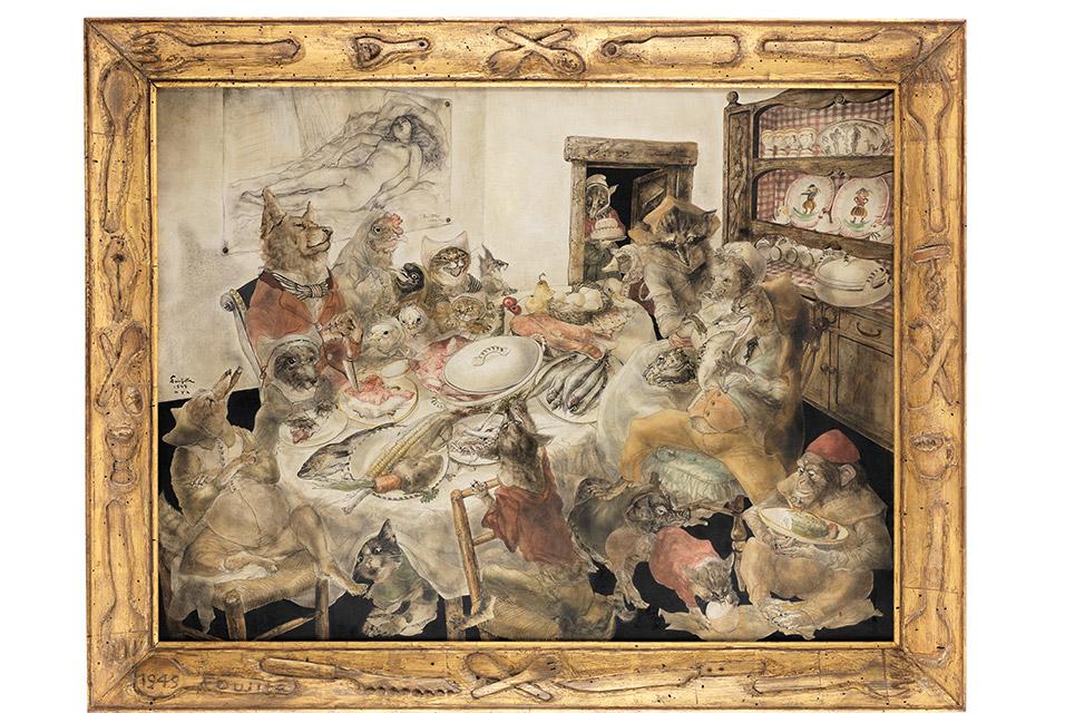 藤田嗣治・レオナール・嗣治・フジタ Léonard Tsuguharu Foujita La fête d'anniversaire 1949, painted in New York
