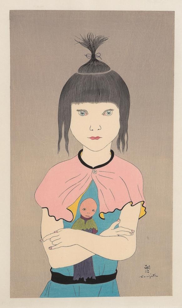 藤田嗣治作「少女と人形」1930年