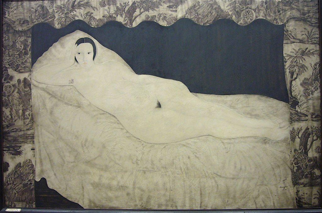 藤田嗣治-Léonard Foujita- Nu à la toile de jouy 1922