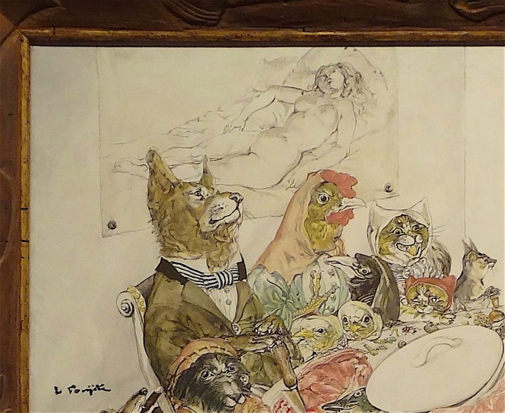 "FOUJITA Tsuguharu 藤田嗣治「動物宴」""Feast of Animals"" 1949-60 oil on canvas (National Museum of Modern Art, Tokyo Collection 東京国立近代美術館所属) detail"