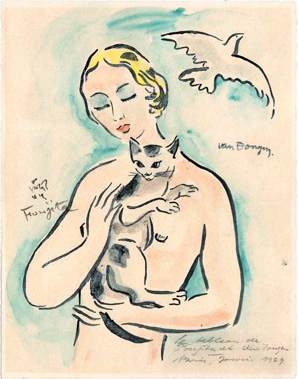 Kees van Dongen + Tsuguharu Foujita La Femme au chat (Collaboration) 1929