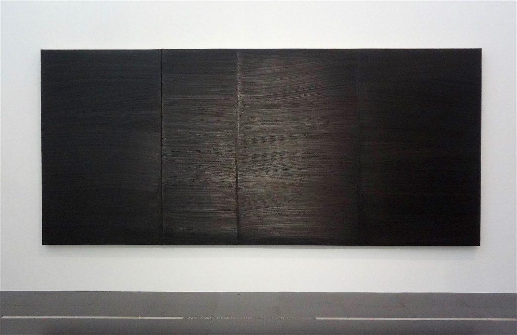 """Pierre Soulages """"Peinture 202 x 453 cm, 29 juin 1979"""" 1979, Oil on canvas, diptych, Centre Pompidou, Musée national d'art moderne, Paris"""