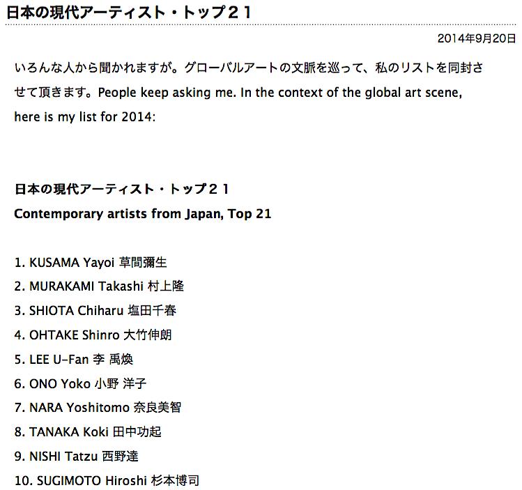 トップ日本現代アーティスト Contemporary artists from Japan 2014