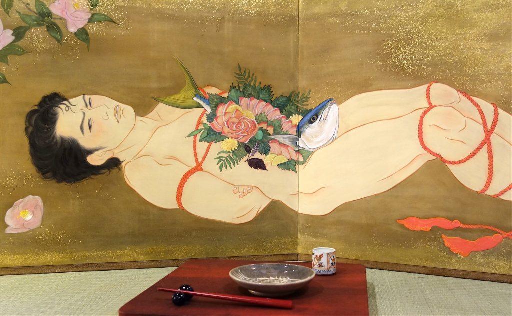 KIMURA Ryoko 木村了子「男体盛り図枕屏風-寒ブリ姿造り」部分