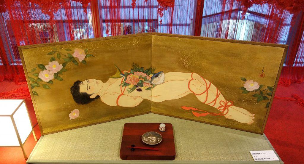 KIMURA Ryoko 木村了子「男体盛り図枕屏風-寒ブリ姿造り」2018