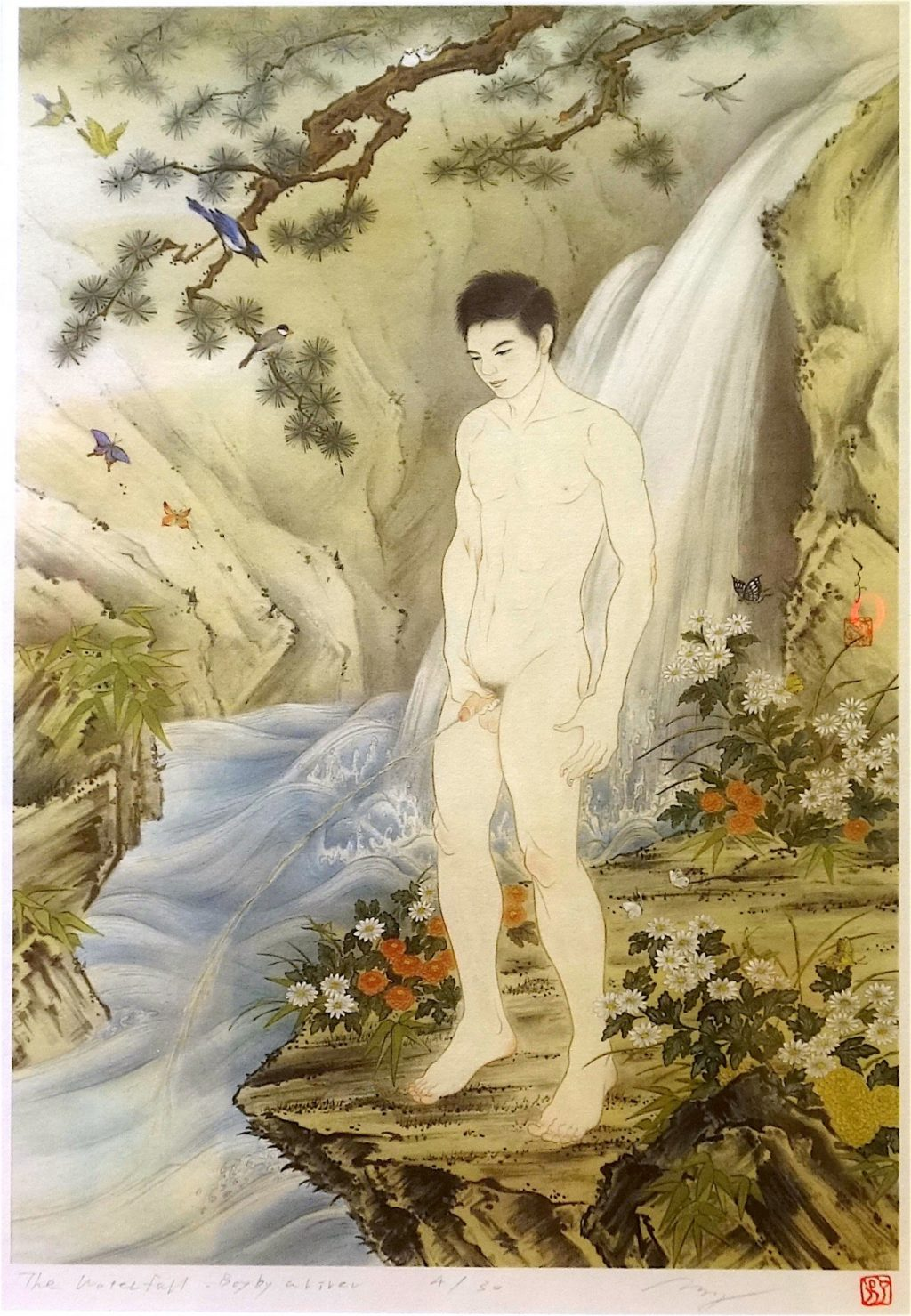KIMURA Ryoko 木村了子 「瀧図 – 水辺の少年」 (The Waterfall – Boy by a River) edition work