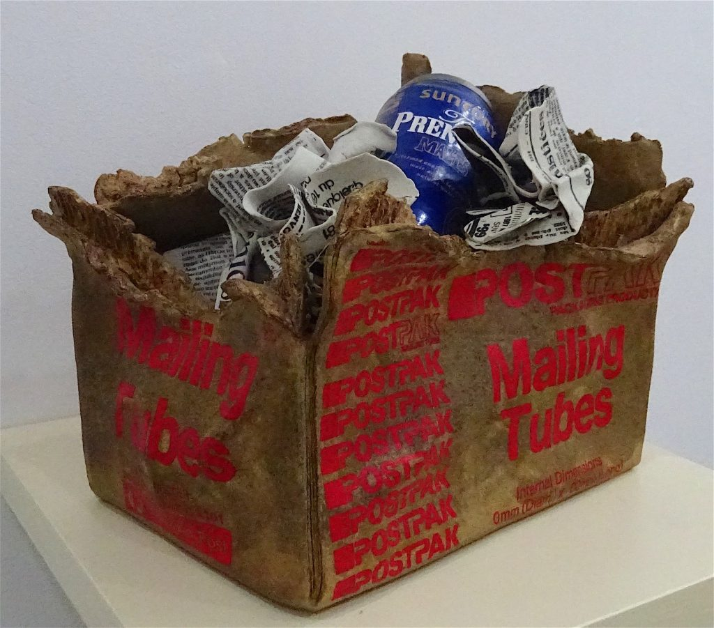 "MISHIMA Kimiyo 三島喜美代 ""Box Postpak-16"" 2016, 31 x 22 x 23.5(h) cm, painted on printed ceramic"