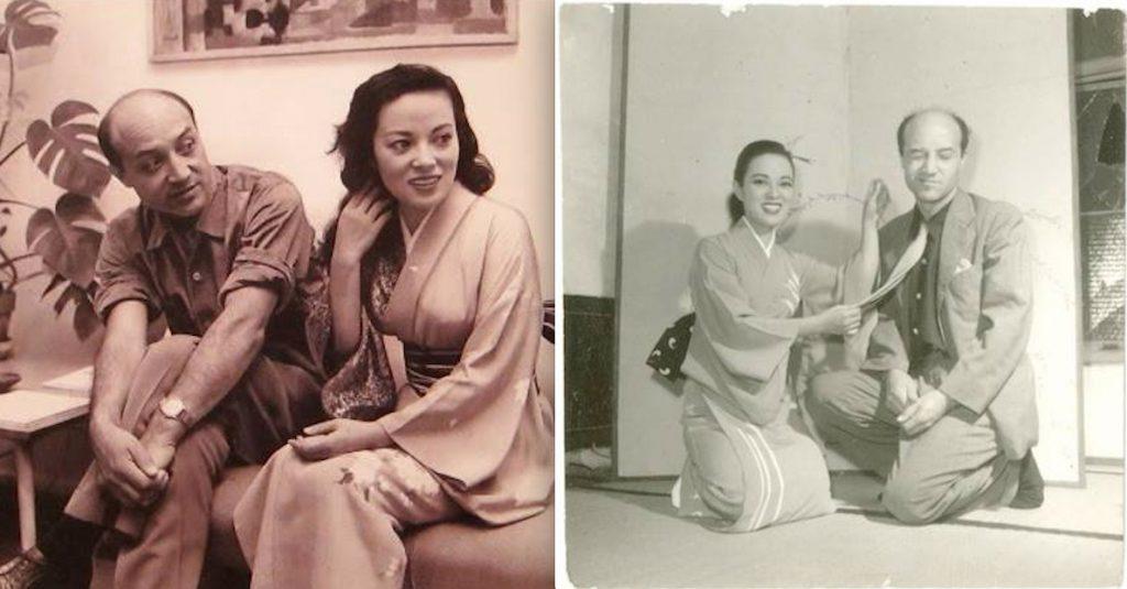 Married couple 夫婦 Isamu Noguchi (aka 野口勇) & Shirley Yamaguchi (aka 山口淑子, Yoshiko Yamaguchi, 大鷹淑子, Li Xianglan, Ri Koran, 李 香蘭)