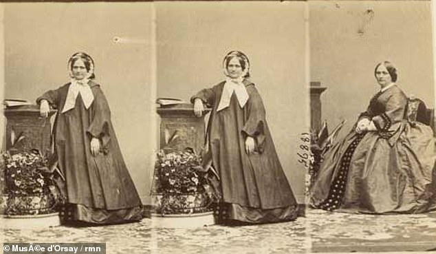 Photographs taken in 1860 and now displayed on the Musee d'Orsay website are believed to show Courbet's model and mistress Constance Queniaux