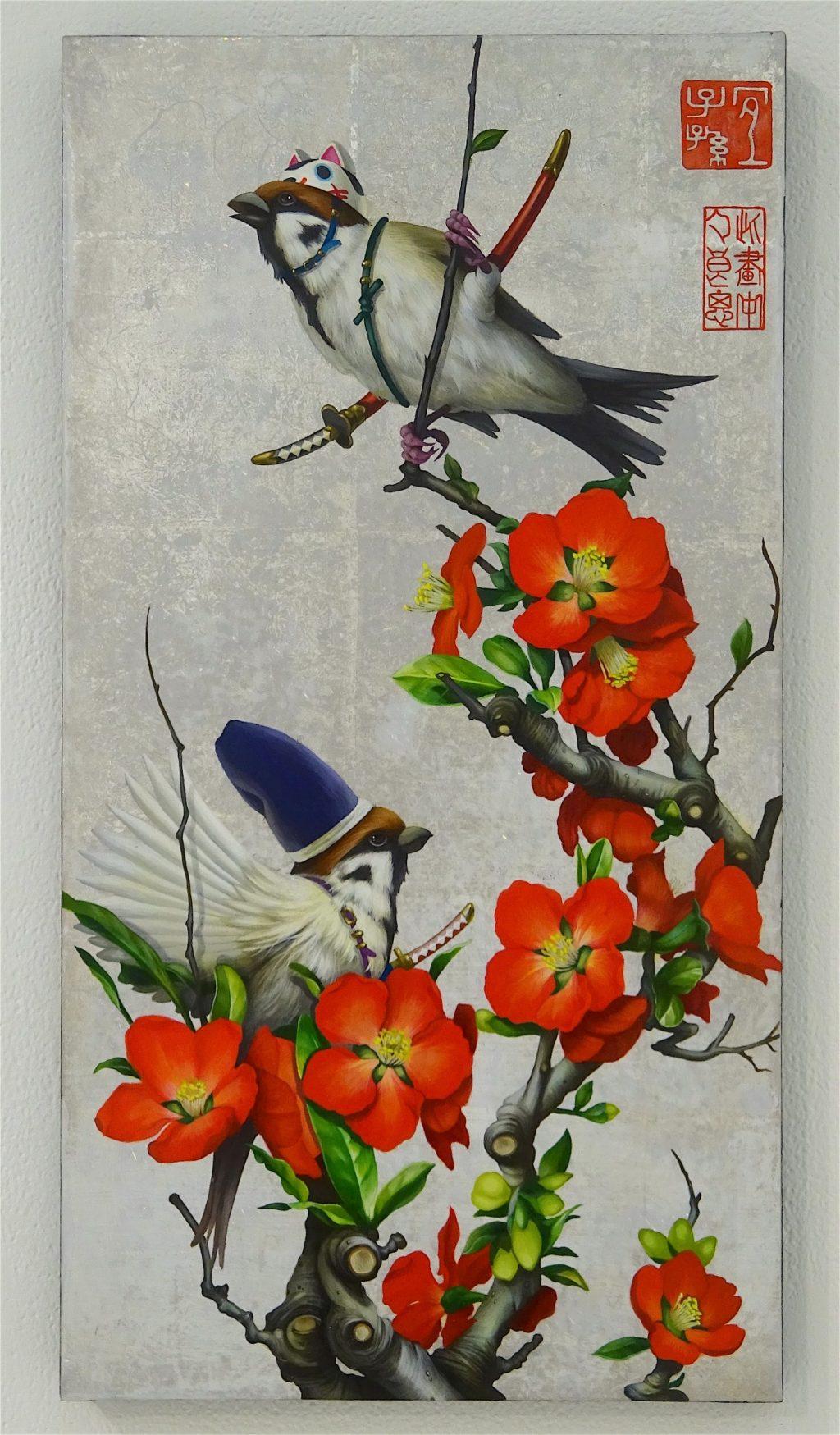 TANAKA Takeshi 田中武 「木瓜雀遊戯図」