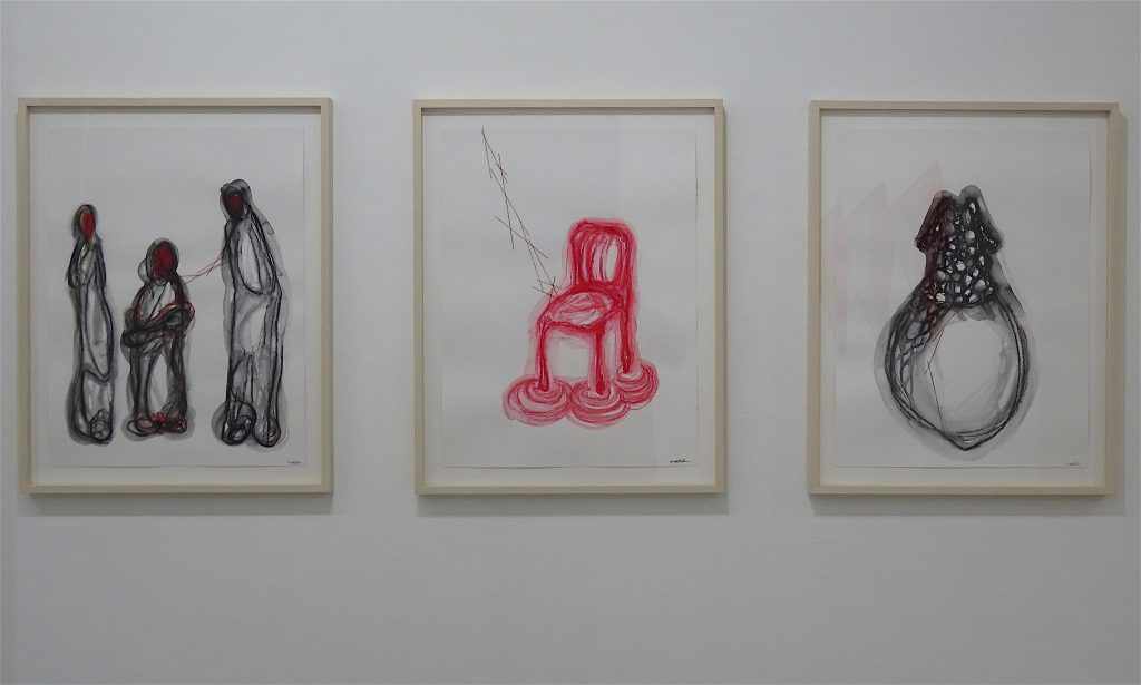 "塩田千春 SHIOTA Chiharu, from left ""Three Red Faces"", ""Four Feet"", ""Dress"" 2018, watercolor, oil pastel and thread on paper, each 65 x 42 cm"