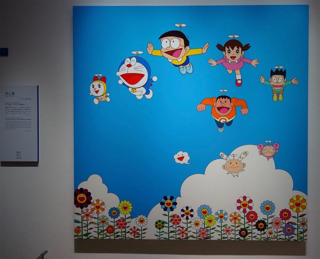村上隆「ぼくと弟とドラえもんと夏休み」(My Summer Vacation with My Little Brother and Doraemon) 2002年、キャンバス、アクリル、H 1800 mm x 1805 mm