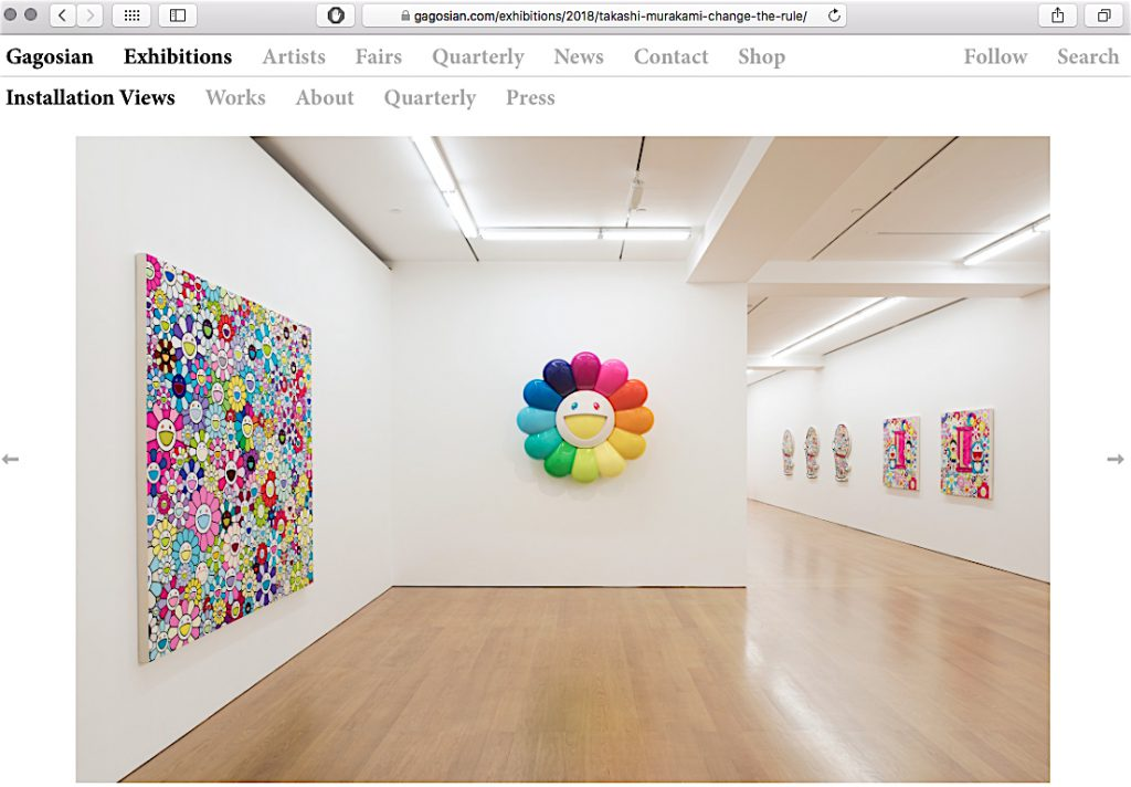 "村上隆 MURAKAMI Takashi ""Change the Rule!"" @ Gagosian Hong Kong, 2018, installation view, screenshot"