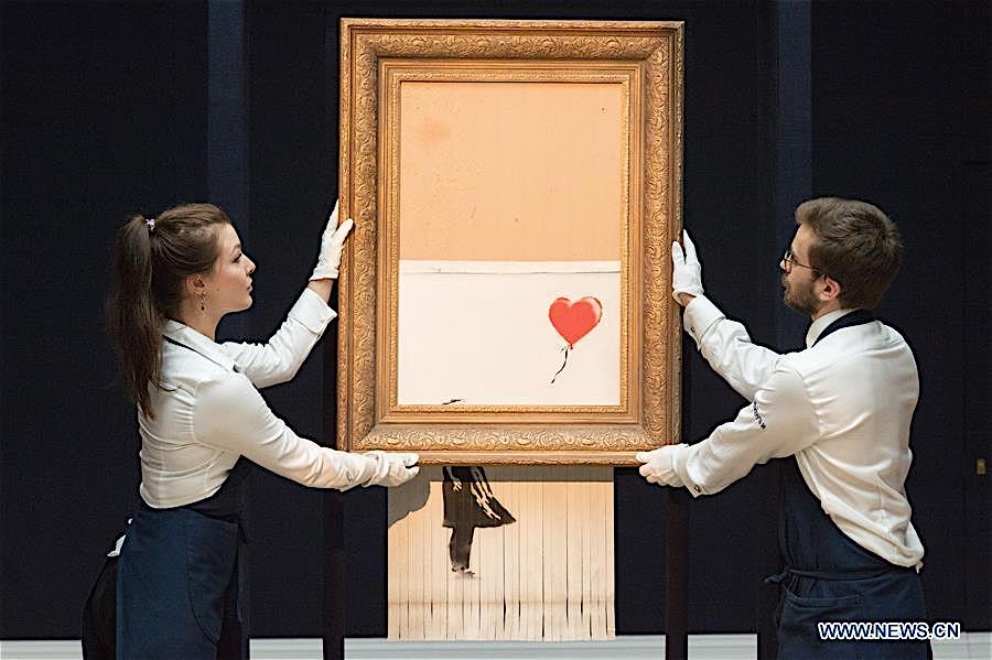 バンクシー 少女と風船 愛はごみ箱の中に Banksy Girl with Balloon Love Is in the Bin