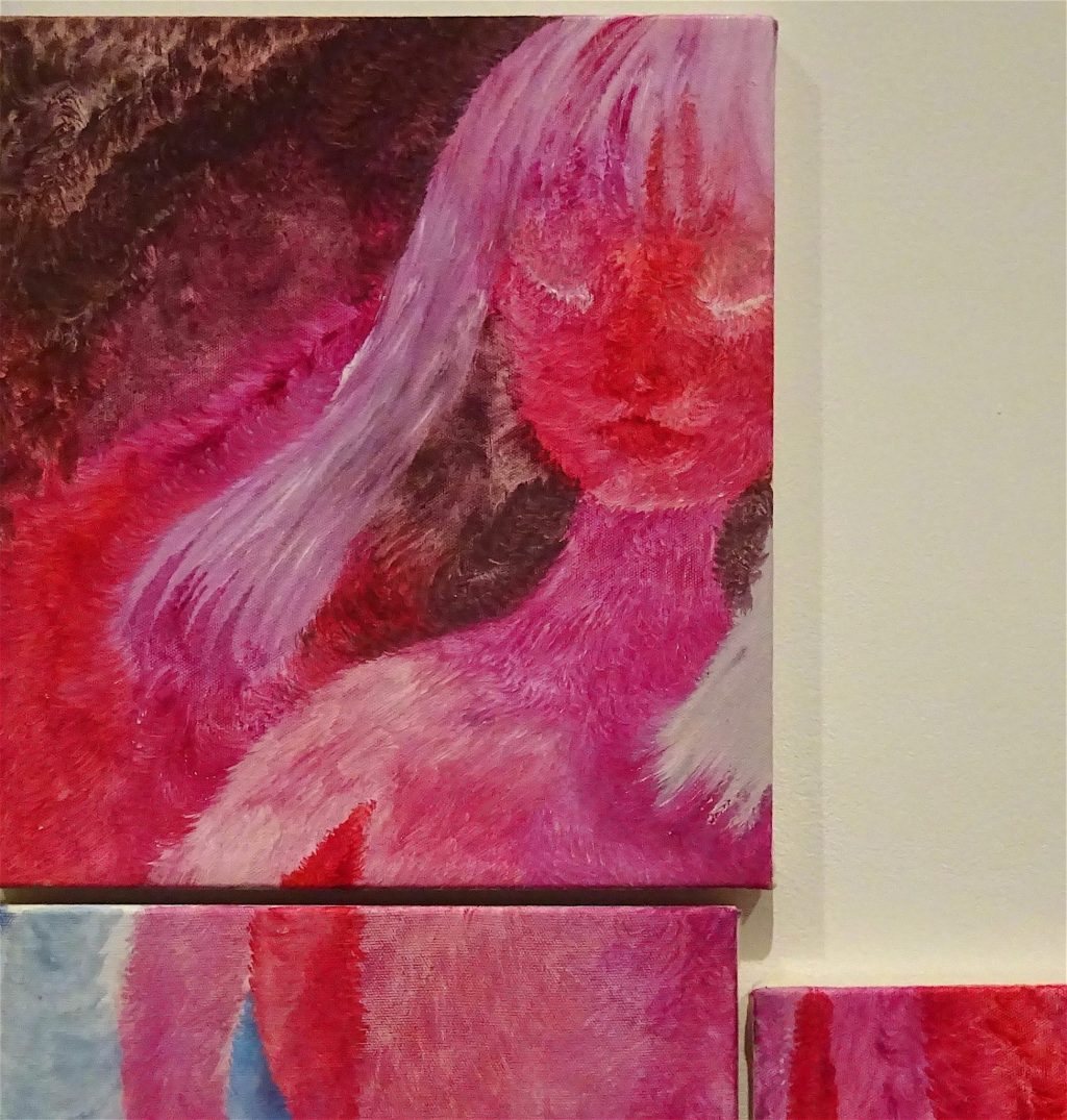 "村瀬恭子 MURASE Kyoko ""Ruby"" 2010, 140 x 120, Set of 3, Oil, color pencil on cotton, detail"