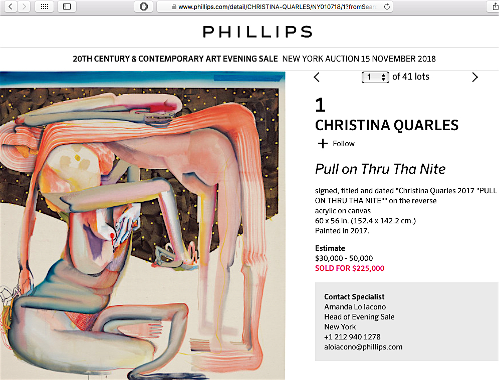 CHRISTINA QUARRELS  Art Flipper Auction New York 2018