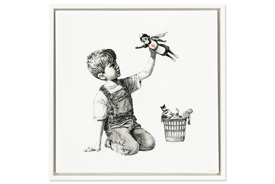 Banksy, Game Changer, oil on canvas, 35.7:8 x 35.7:8in. (91 x 91cm.), painted in 2020