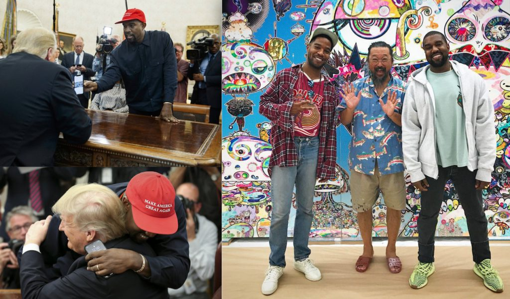 Kanye West together with MURAKAMI Takashi and the President of the U.S.A. Donald Trump, 2018, pics creative common sense