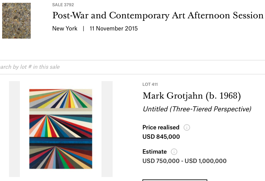 "Mark Grotjahn ""Untitled (Three-Tiered Perspective)"" 1999, bought by MAEZAWA Yusaku @ Christie's New York, 11 November 2015"