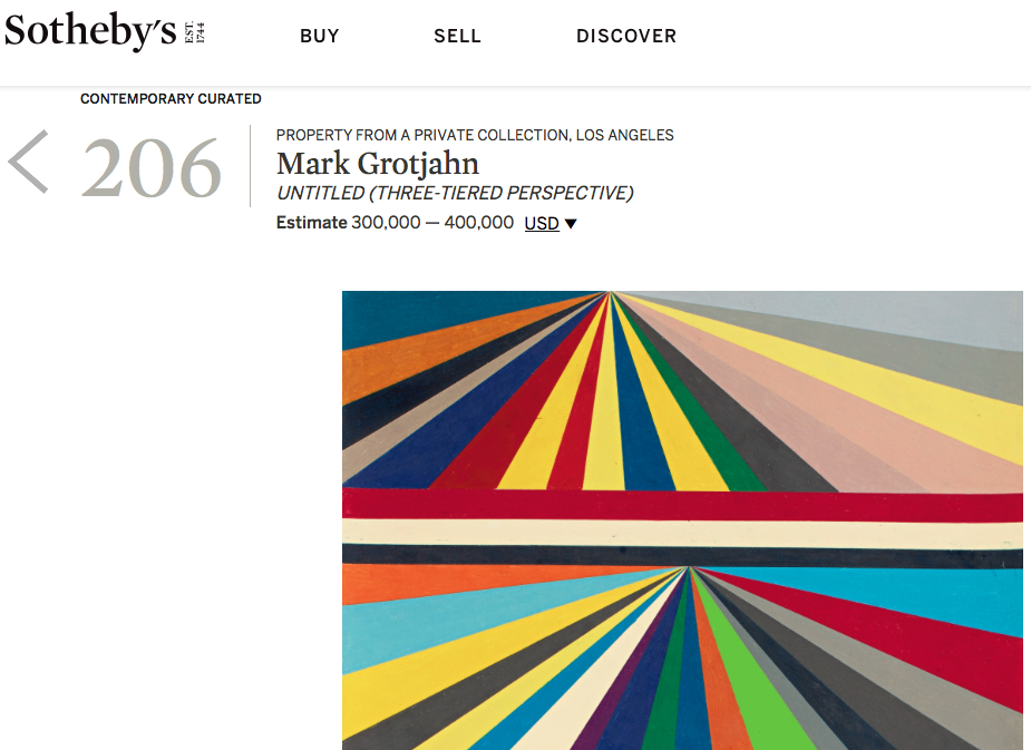 """Mark Grotjahn """"Untitled (Three-Tiered Perspective)"""" 2000, unsold @ Sotheby's New York, 25 September 2018"""