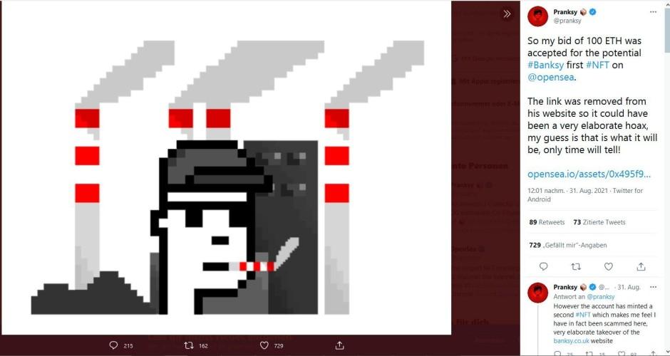 NFT-Banksy-Pranksy à la CryptoPunk 2021年8月