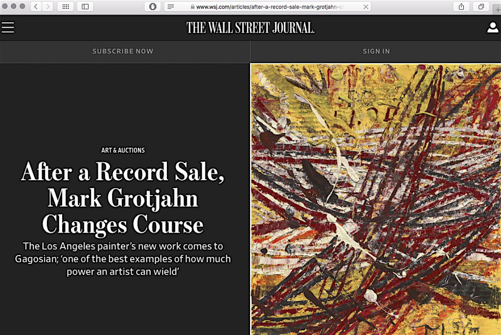 Wall Street Journal Grotjahn Gagosian 2018:10:24