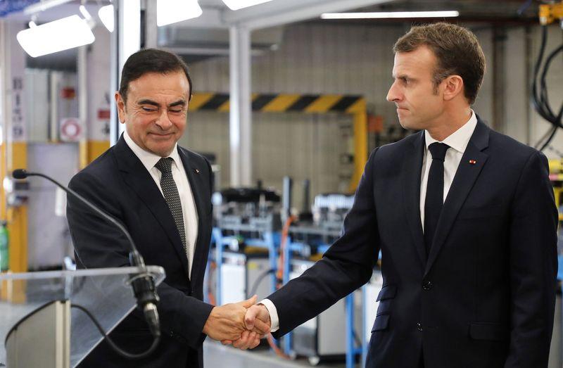 日産自動車のカルロス・ゴーン とエマニュエル・マクロン 2018