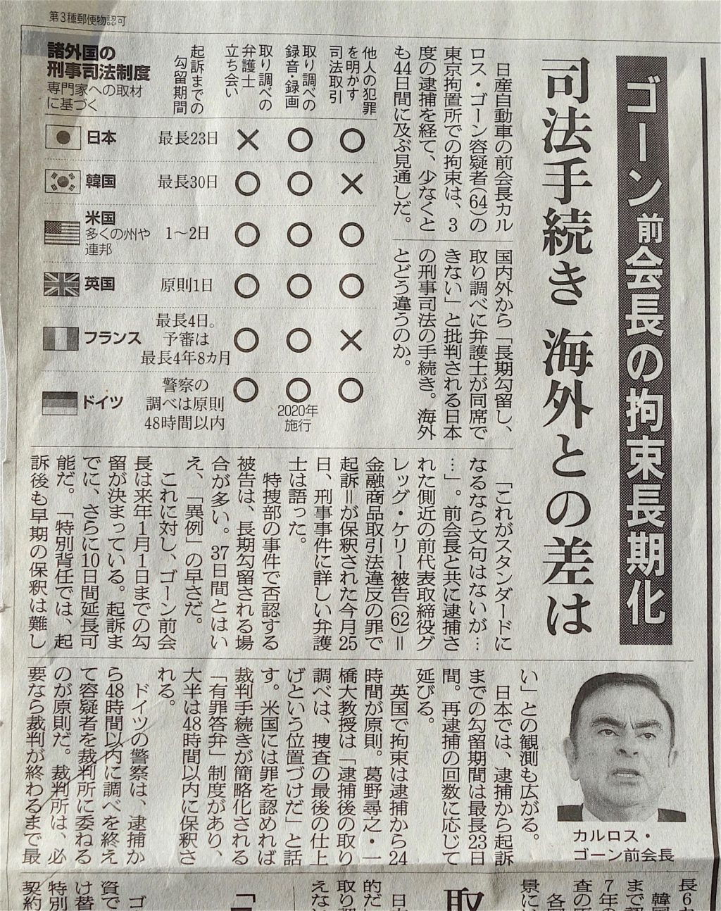 Ghosn ゴーン 朝日新聞 2018年12月30日