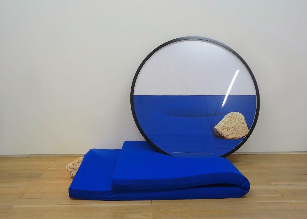 "ISOYA Hirofumi 磯谷博史 ""Parallax"" 2016 Lambda print, circular frame, mattress, stone"