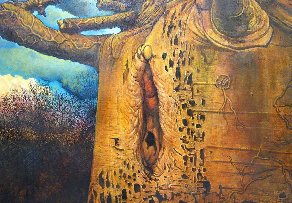 MAKIDA Emi 牧田恵実「憂鬱なまでに美しく」2016、油絵具、キャンバス、1120 x 1455 mm、部分