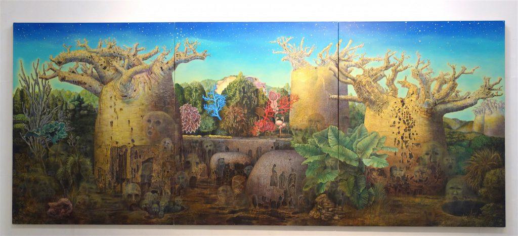 MAKIDA Emi 牧田恵「未来のバオバブ」2012、油絵具、キャンバス、1620 x 3910 mm