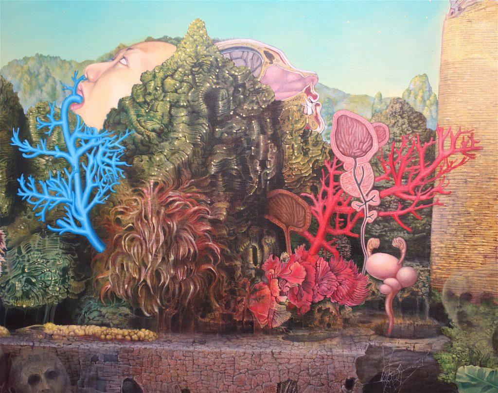 MAKIDA Emi 牧田恵「未来のバオバブ」2012、油絵具、キャンバス、1620 x 3910 mm、部分