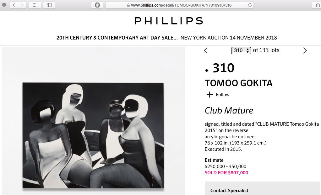 TOMOO GOKITA Club Mature 2015 @ PHILLIPS est. US$ 250.000, sold for US$ 807.000