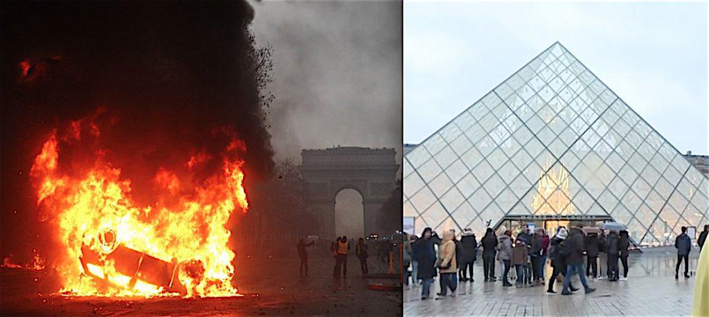 パリ・オン・ファイア、右側の名和晃平作「Throne」@ ルーブル美術館ピラミッド内