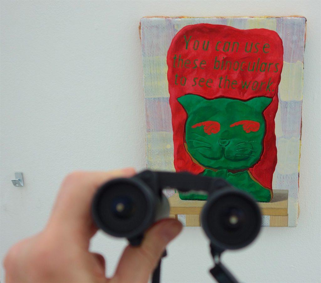 千葉正也 CHIBA Masaya 「作品を見るためにこの双眼鏡を使う事が出来ます。You can use these binoculars to see the work.」2018 キャンバス、油彩