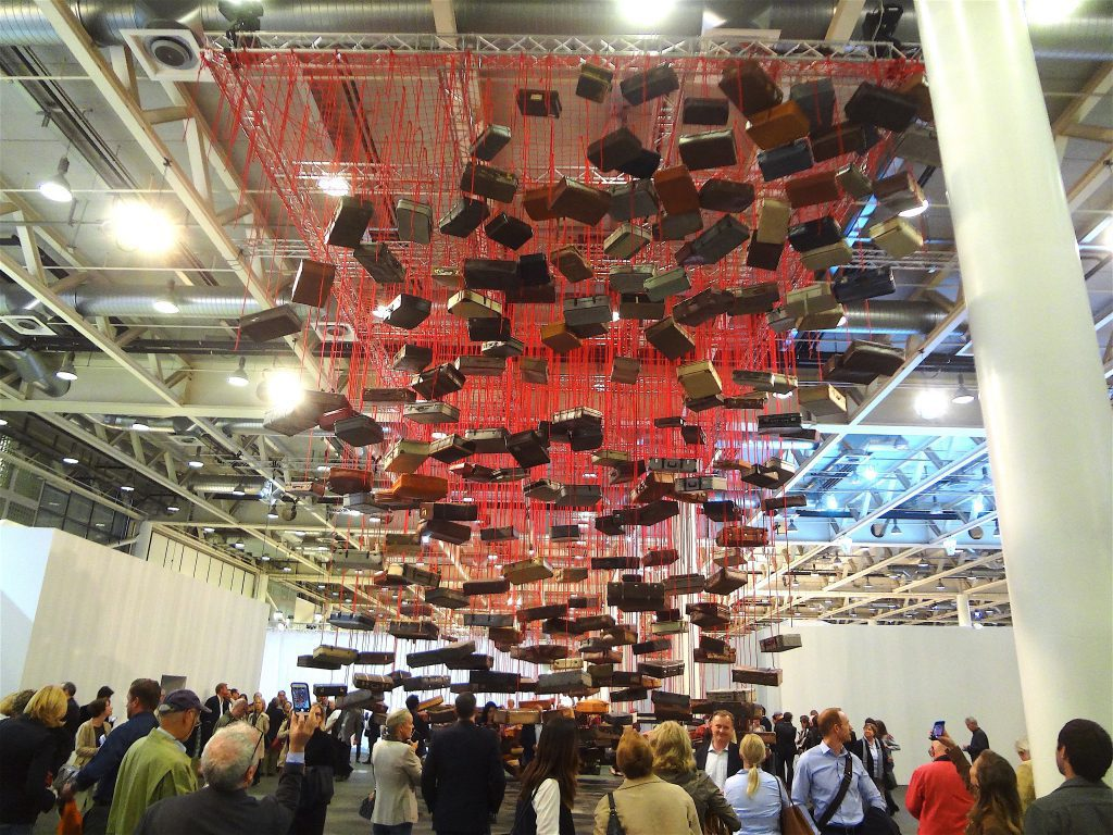 "塩田千春 SHIOTA Chiharu ""Accumulation – Searching for the Destination"" 2014-2016, Suitcase, motor, red rope @ Art Unlimited, Art Basel, Switzerland, 2016, Galerie Templon, Paris"