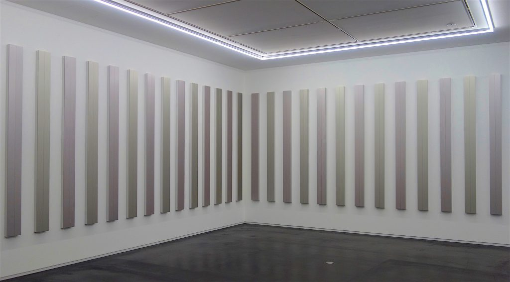 "桑山忠明 KUWAYAMA Tadaaki ""Untitled"" 2018, Metallic paint on Bakelite board with aluminium bracket, 240.2 x 18 x 6.1 cm each"