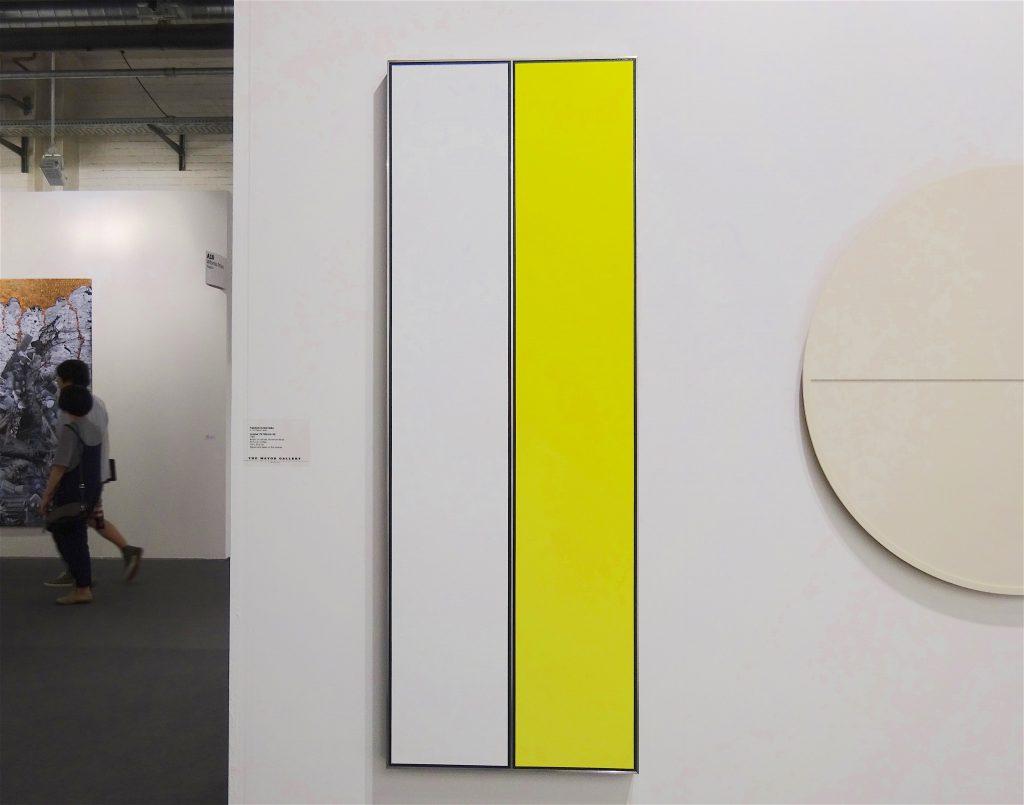 "桑山忠明 KUWAYAMA Tadaaki ""Untitled (TK7359-3:4-'68)"" 1968, Acrylic on canvas, aluminium strips, 152 x 53.5 cm"