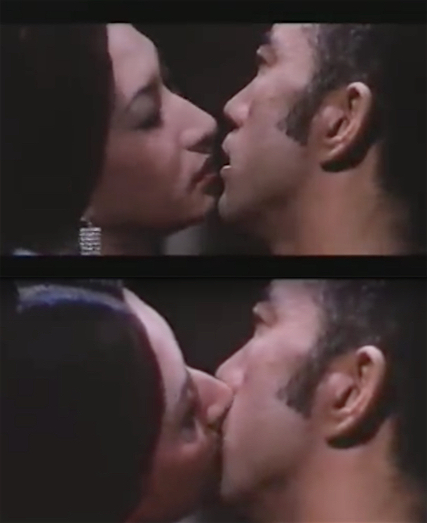 美輪 明宏 MIWA Akihiro kissing 三島由紀夫 MISHIMA Yukio in the film 黒蜥蝪 Black Lizard 1968