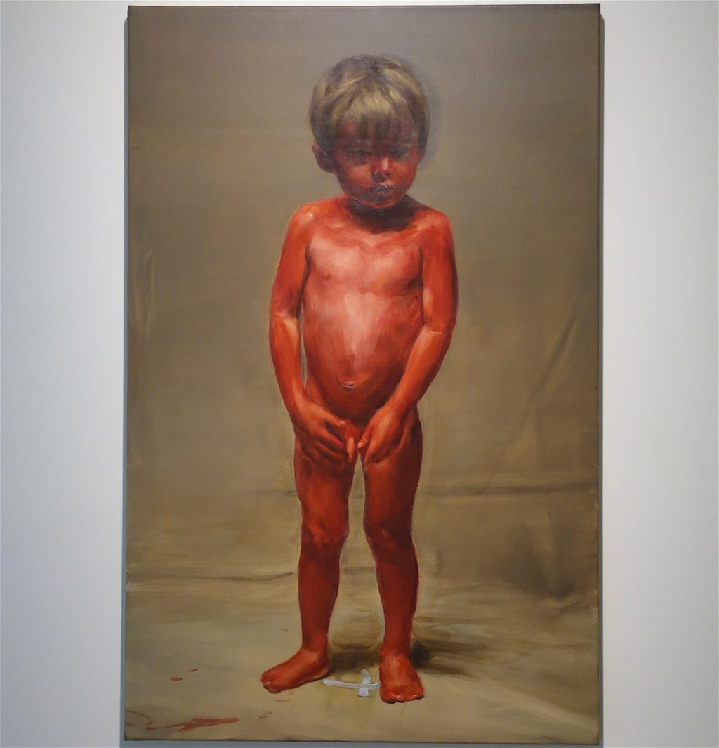 "Michaël Borremans ""Fire from the Sun (single figure standing)"" 2018, oil on canvas"