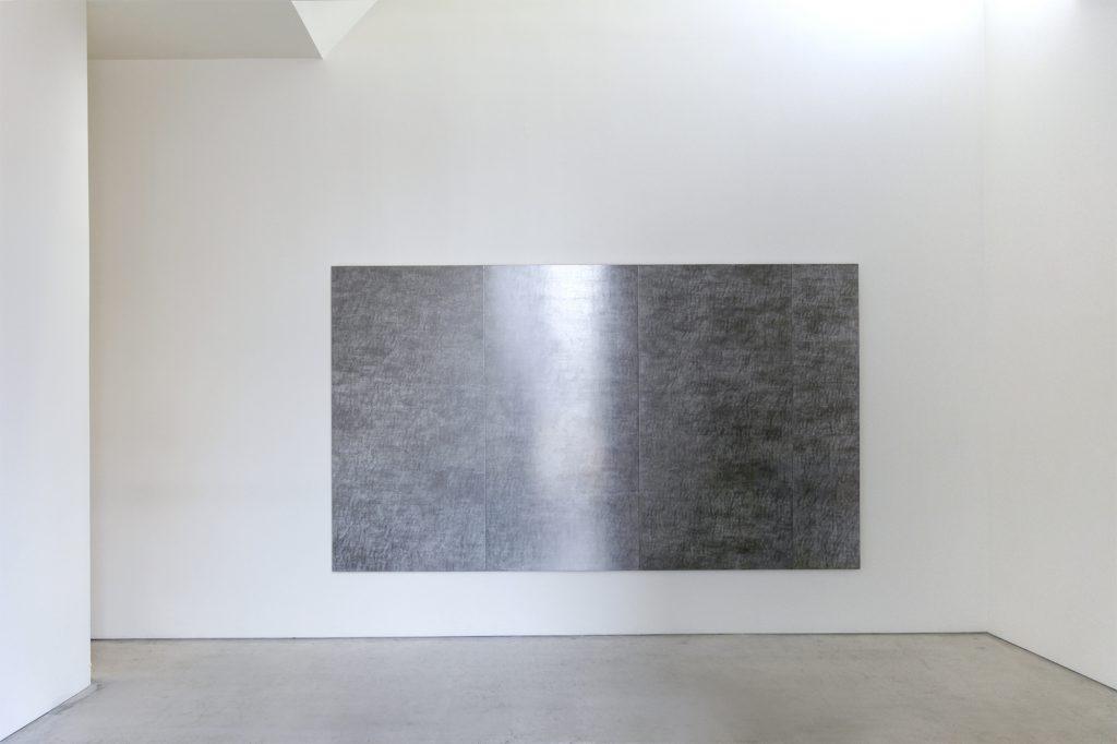 "SEKINE Naoko 関根直子 ""Mirror Drawing – The Color"" 2018, pencil, guache, panel, 4 panels à 24.8 x 55 cm"